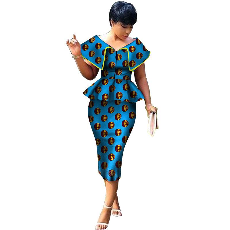 bde98fbcba2ffb Nieuwe Collectie Top en Rechte Rok Sets Afrikaanse Wax Print 2 stuks Rok  Set voor Vrouwen