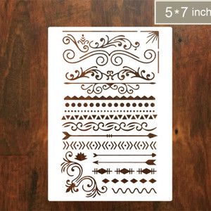 ANJI DIY openwork drawing template lace ruler drawing stencil PET hand account diary plastic drawing painting template