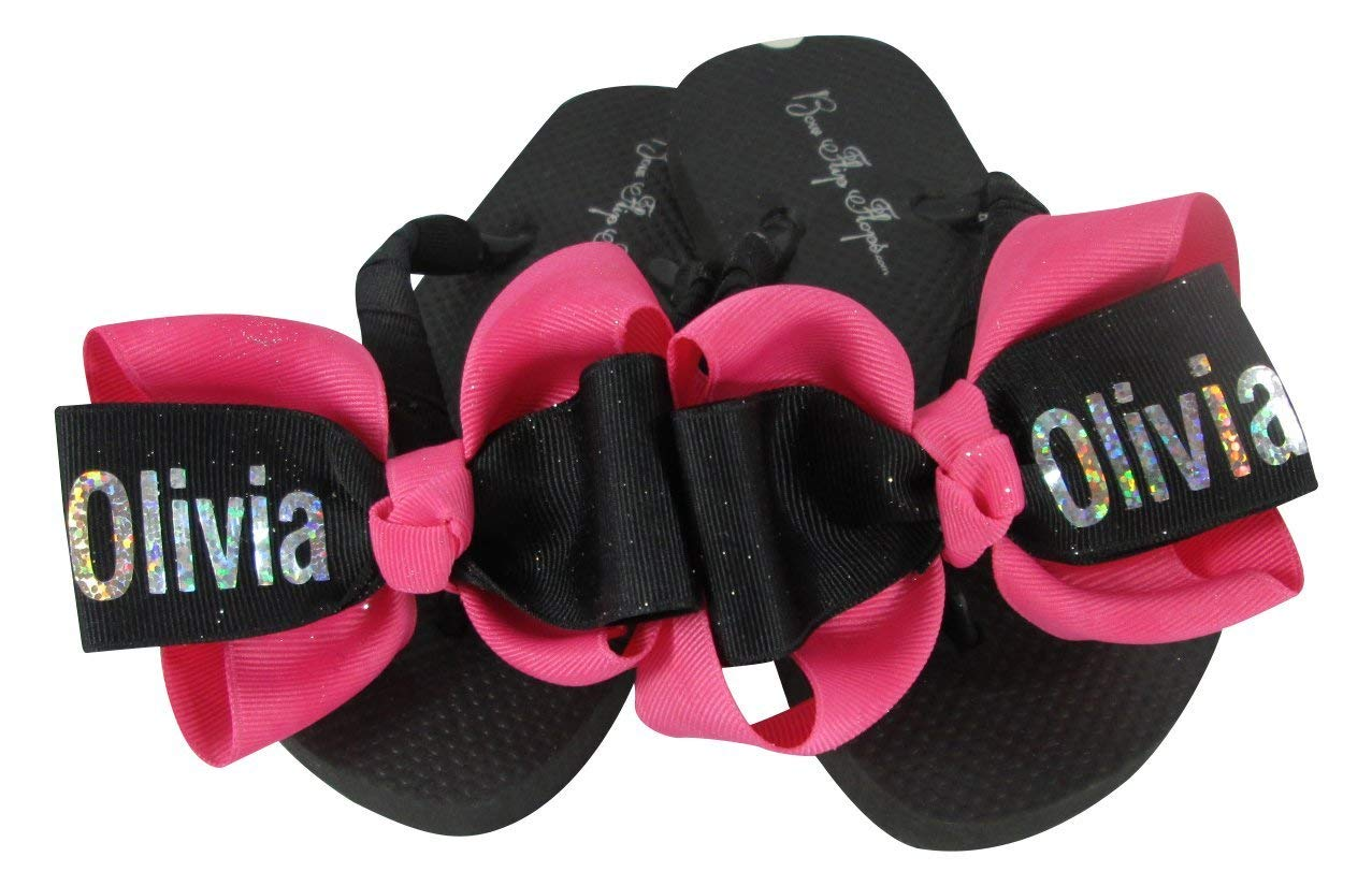 8ee9befb39761c Get Quotations · Customizable glitter Name Bow Flip Flops
