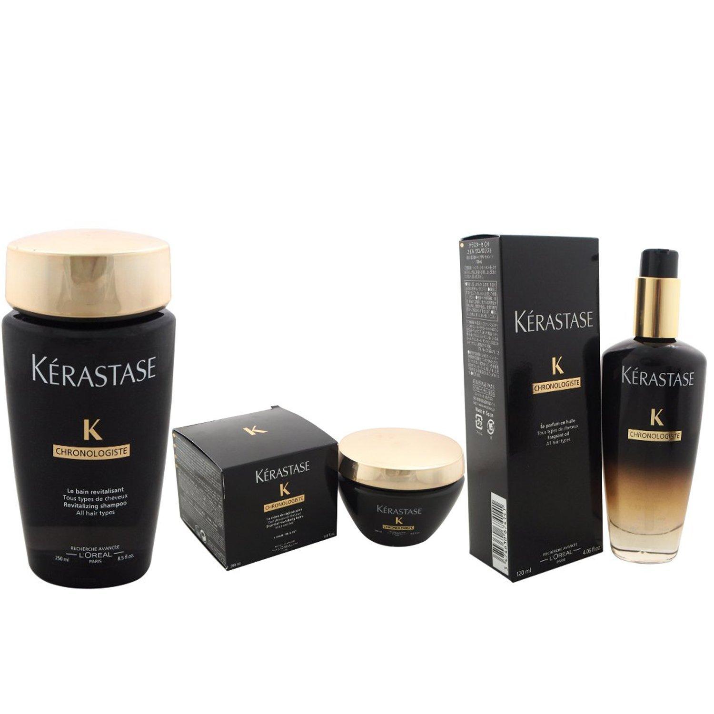 Bundle - 3 items: Kerastase Chronologiste Essential Revitalizing Balm, 6.8 Oz & Chronologiste Revitalizing Shampoo, 8.5 Oz & Chronologiste Fragrant Oil, 4.06 Oz