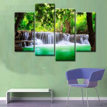Art Mural 5 Pcs Cascade Définition Photos Impressions Sur Toile Décoration De La Maison Salon Modulaire Peinture Impression Cuadros Pas De Cadre