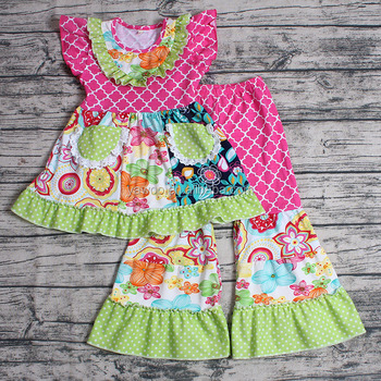 Yawoo Free Shipping Baby Girls Flutter Sleeve Spring Summer Clothing Kids Boutique Outfit