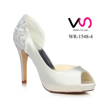 f01a604e92f Sexy Women High Heels Lace Peep Toe Women Wedding Dress Bridal Shoes ...