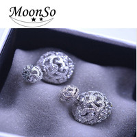 Wholesale fashion designs high quality Diamond cut ball Stud Earrings for women Moonso AE691