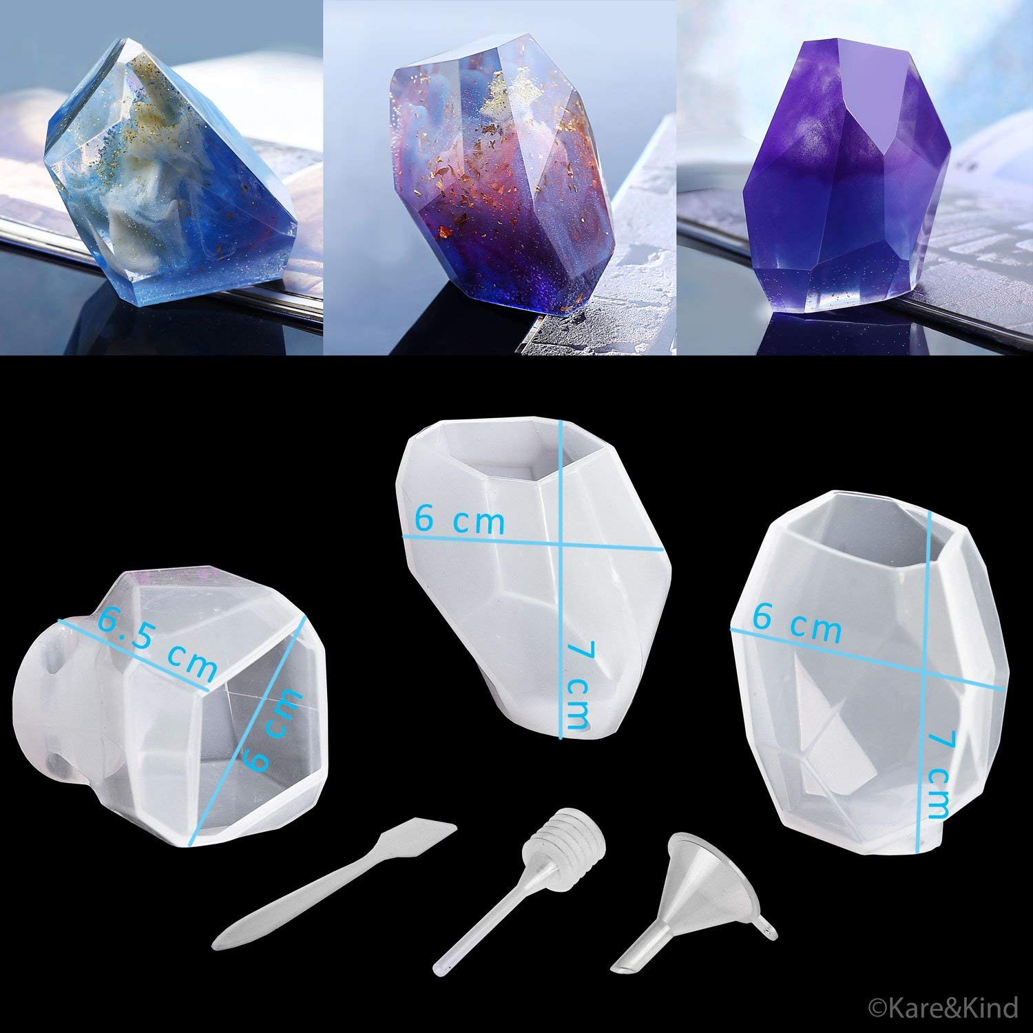 Polymer Clay / Resin Epoxy Molds - DIY 'Quartz Crystal' Kit - Set of 3 Silicone Shapes - Create Your Own Clear or Opaque Crystal Shaped Objects - Easy to Remove After Molding - Soft, Durable, Reusable