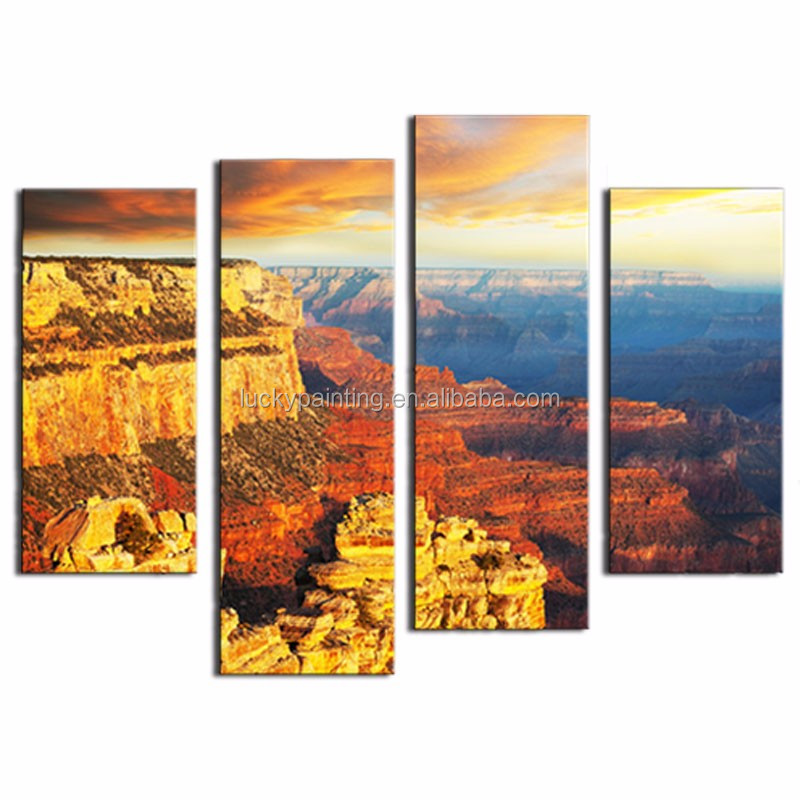 LK4141 4 Panel Oil PaintingThe Grand Canyon Dark Cloud Pictures Prints On Canvas Landscape Prints On Canvas Wall Art Painting Pi
