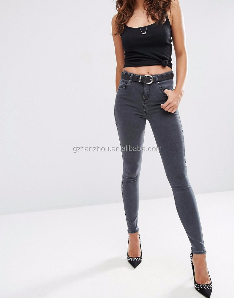 Hot High Quality Grey High Waist Jeans Fashion Super Fit Ladies Jeans Stretch Denim Jeans