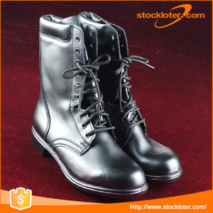 Stock Mens Leather Military Army Black Boots