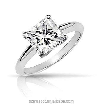 Simple Sterling Silver Square Solitaire Designs Stone Cz Ring