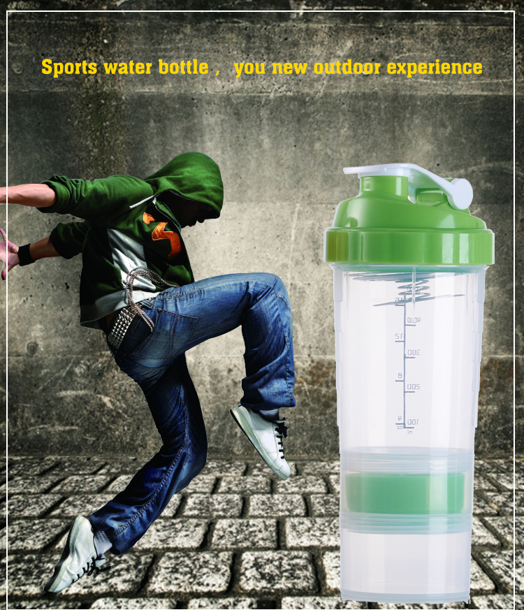 Eco-friendly bpa free plastic sports protein shaker bottle