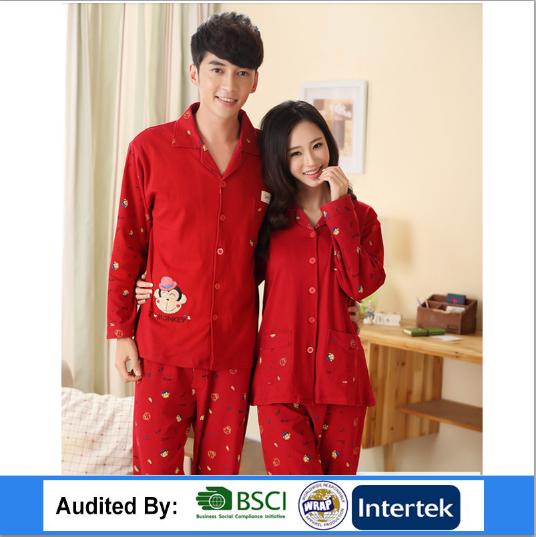 2017 New fashion Piyama Untuk Pasangan 100% disisir Katun OEM Payama China  Murah Pakaian 8339cbb134
