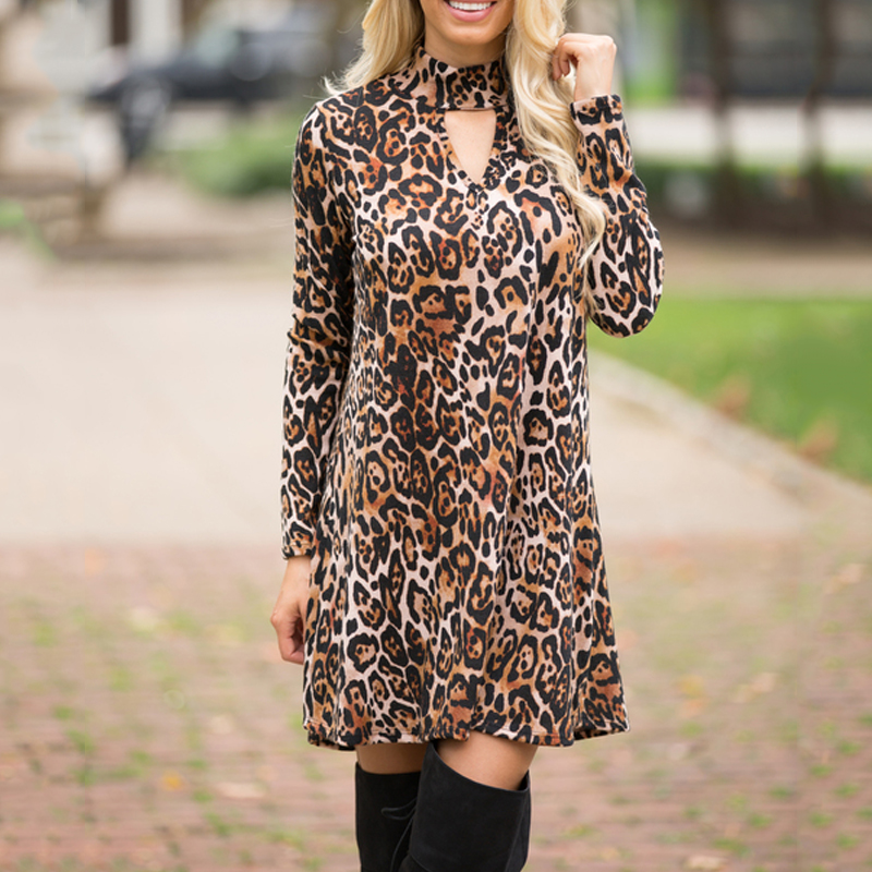 New Design Sexy Dresses For Women A-line Dress Long Sleeve Leopard Turtle Neck V-neck Dress Ladies Velvet