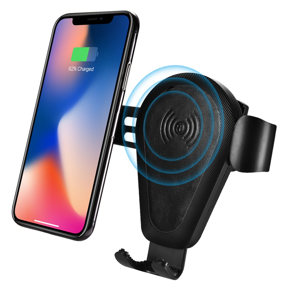 Color : Black Jiabei Fast Charging Wireless Charging Bracket Multi-Function QI Charging Air Outlet Mobile Phone Bracket Car