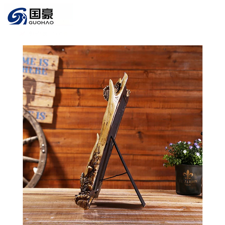Hand Painting Resin Antler Photo Frame For Home Decoration