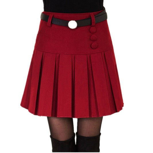Free Shipping Autumn Winter New Korean Thin Red Female Skirt , High Waist Pleated A-Line Plus Size Skirts 029 M-L-XL-XXL-XXXL