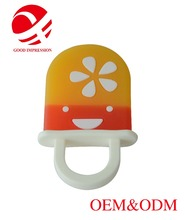 factory custom BPA free ice cream silicone baby teether