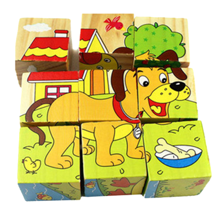 FQ brand wholesale education wooden puzzle toy 3d cube animal wooden puzzle for kid