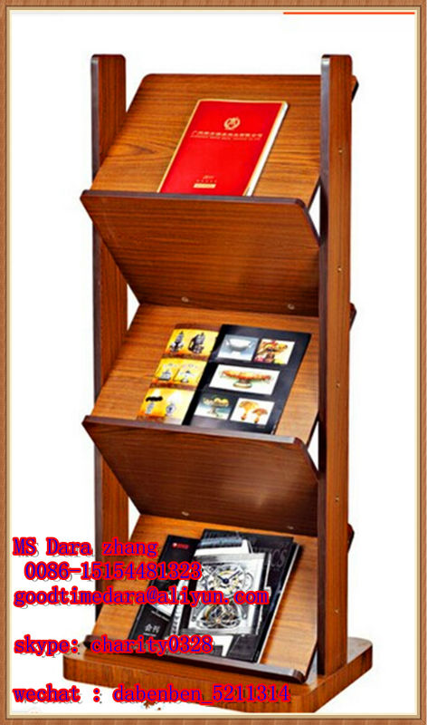 wooden library newspaper stand