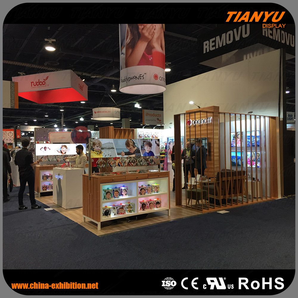 wood aluminum custom display trade show booth