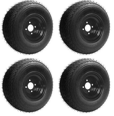 Slasher 18x8.50-8 GTX OEM Golf Cart Wheels and Golf Cart Tires Combo - Set of 4 (18x8.5-8, Black)