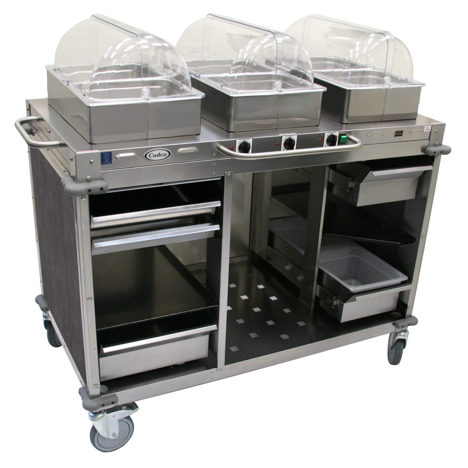 "Mobile Hot Buffet Cart Color: Mission Smoke Grey, Size: 51"" H x 55.5"" W x 28.75"" D"