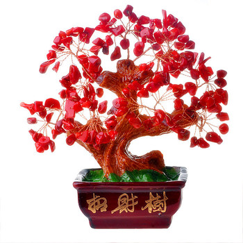 natural crystal craft tree , the lucky feng shui tree as the mascot, bring in wealth and treasure fortune tree red