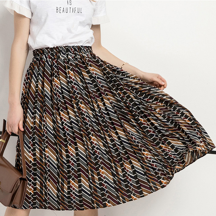 Midi long fashion lady wholesale women girls african print pleated chiffon skirts