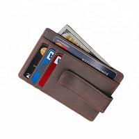 RFID Wallet for Men Minimalist Genuine Leather Wallet Money Clip with ID Window