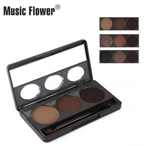 Wholesale customized OEM high quality Waterproof longlasting 3D 3 colors eyebrow powder&gel palette with private label