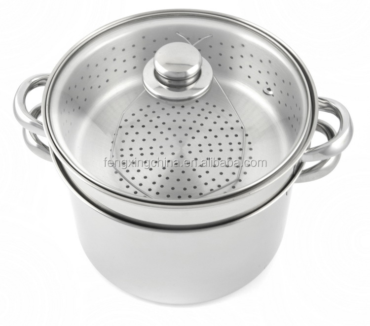 Pcs stainless steel pasta pot with strainer and basket