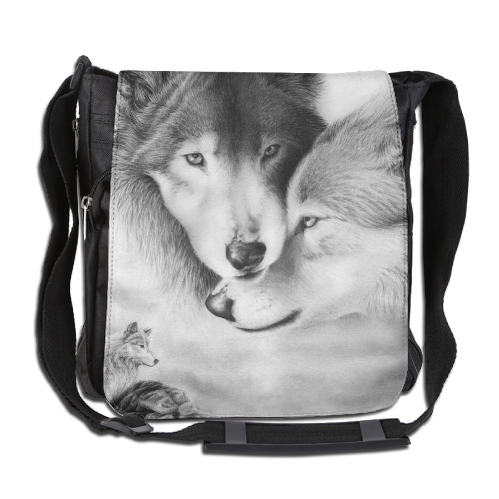 7a22648d179 Get Quotations · Unisex Narrow Diagonal Shoulder Bag Wolf Couple Printed  Casual Messenger Travel Crossbody Bag Adjustable Shoulder Tote