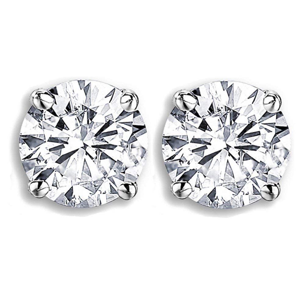 GIA Certified 1.01 Carat (ctw) 14K White Gold Round Cut White Diamond Ladies Solitaire Stud Earrings 1 CT