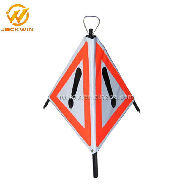 Foldable Temporary Triangle Warning Pyramids Safety Construction Sign