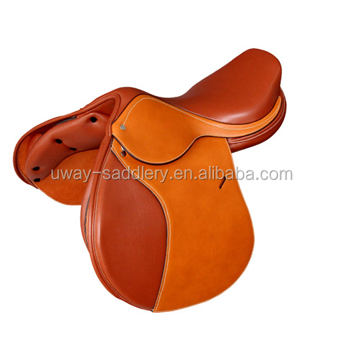 Genuine leather horse jumping saddle