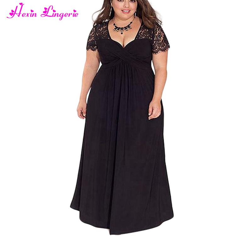 b4a462c054fbe أعلى بيع رخيصة الأسود الخامس الرقبة الرباط زائد الحجم فساتين سهرة للدهون  المرأة