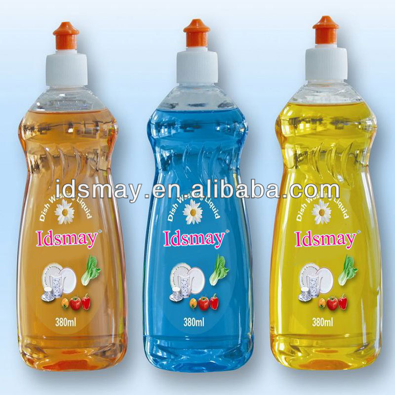 Transparent dishwash liquid with natural formula and clear bottle