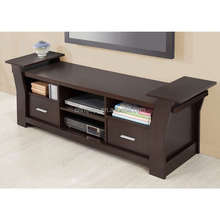 Furniture of America style Contemporary 64-inch brown 2-drawer TV Stand/Media Cabinets