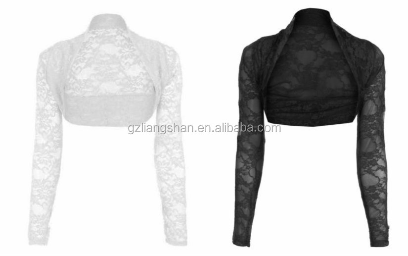 Damen Cropped Lace Shrug Langarm Damen Spitzen Strickjacke Top Jacke