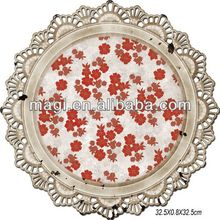 Round Decorative Antique Metal Serving Tray