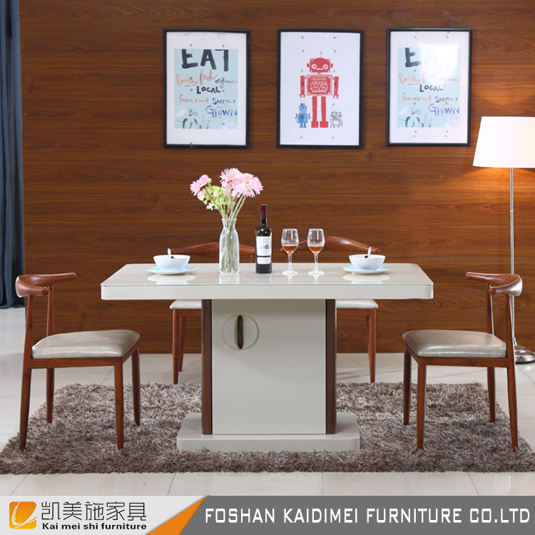 High quality square tempered glass dining tables with four wooden dining chairs