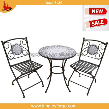 Excellent Quality Tile Slate Ceramic Bistro Set With Table And Two Chairs
