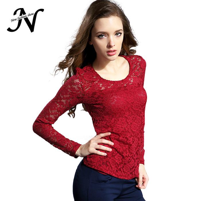 cefb2459902 Get Quotations · Blusas 2015 Autumn Blouse Fashion Crochet Lace Tops Long  Sleeve Shirt Women Lace Blouse Red Black