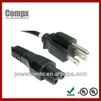 UL CSA 3 pin ac power cord nema 5-15 plug 3prong laptop power cord