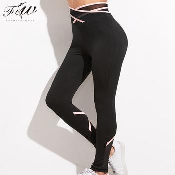 b69e03481c Wholesale Sexy Tight Women Black Crisscross Mesh Waist custom nylon spandex  yoga pants