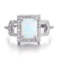 Square Engagement Ring with 14K White Gold Diamond On Sale