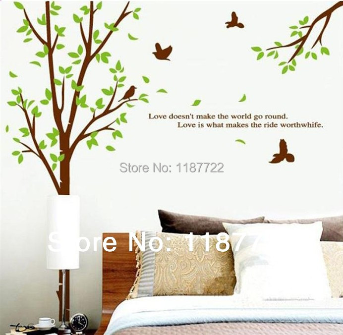 hot  sale  environmental green sticker Large Tree Wall Sticker forest birds warm wall stickers free shipping