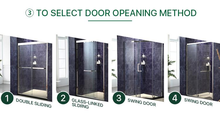 Lüks basit banyo sürgülü temperli cam duş kapısı kabin