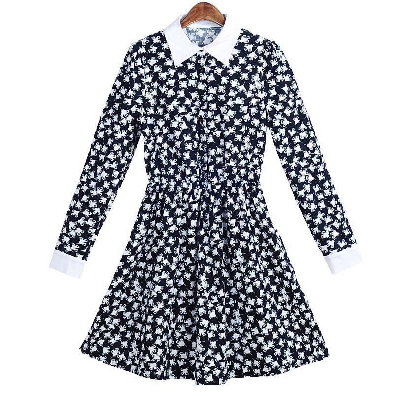 60e6f6af86f Get Quotations · new arrival women clothes 2015 autumn long sleeve  turn-down collar printed mini A-