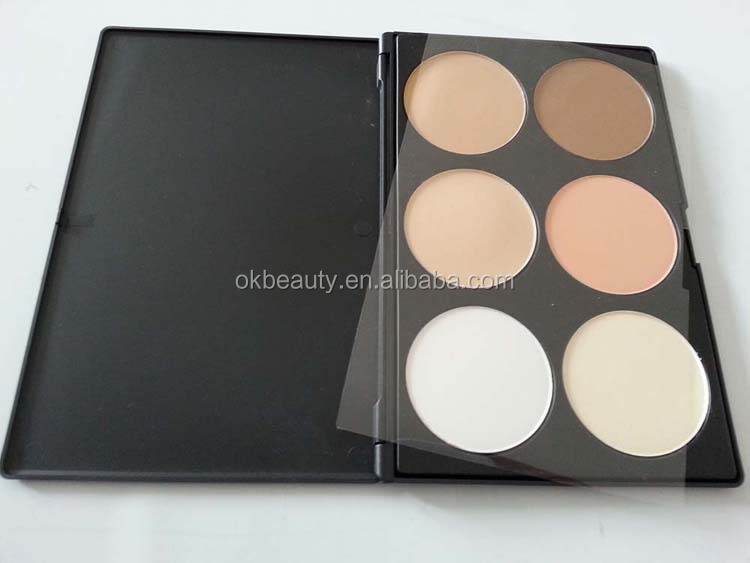 Private Label 6 Colors Contour Palette Makeup kit Highlight and Bronzing Powder Palette