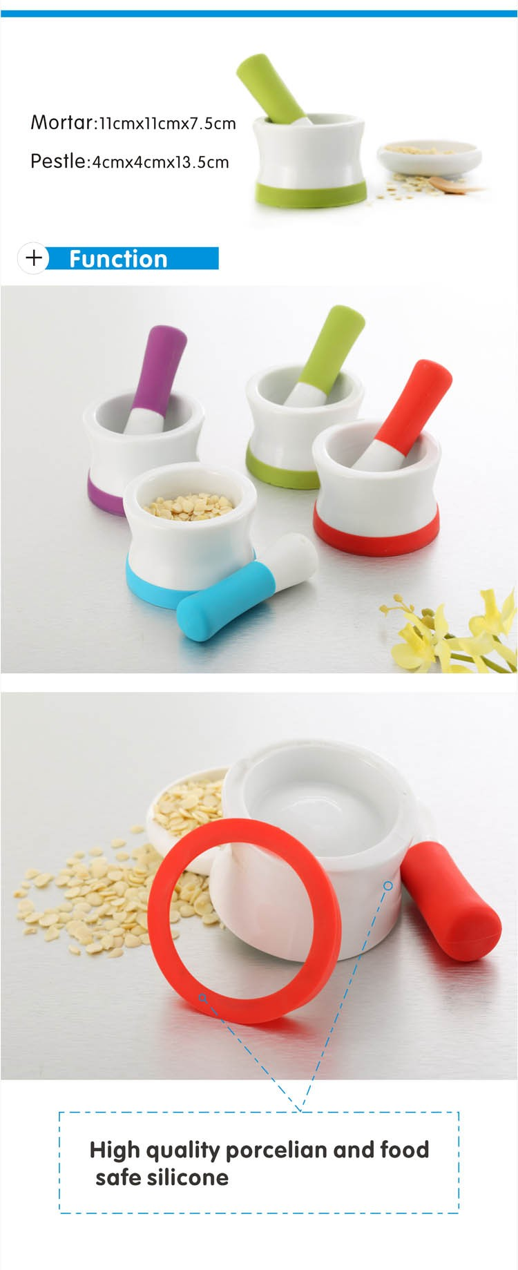 Eco friendly ceramic pills wholesale mortar and pestle with silicone